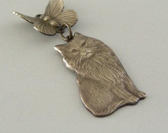 Vintage Pendant - Cat Kitten Butterfly PENDANT -  Brass Pendant - DIY Necklace - DIY Earrings - Handmade