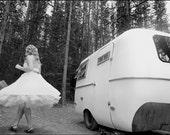 Polka Dot Tea Length Wedding Dress