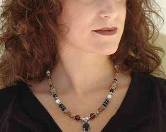 Black Cross Pendant Necklace - Sterling Silver and Mixed Gemstone Bead