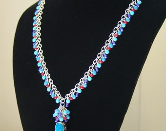 Sterling Silver Fringe Necklace with Turquoise Bead