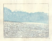 Lucy's Field, Woodcut Print, Hand Pulled, Moku Hanga Print