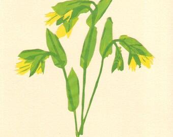 Merry Bells, Pressed Flower, Linoleum Reduction Print, Hand Pulled