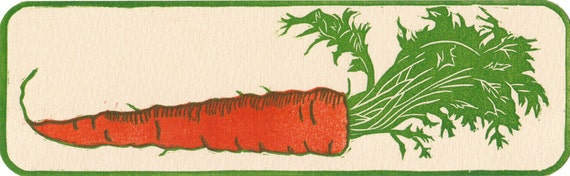 Carrot Bookmark, Multi Block, Hand Pulled Linocut Print