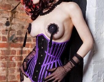 Lavender hand flossed underbust corset