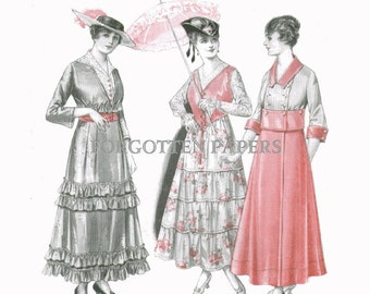 Edwardian Era Fashion Print - Hand Tinted in Shades of  ROSE CORAL - From 1915 McCall's  - Spring Frocks - Styles from PARIS on Back