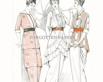 Elegant TITANIC Fashions - Hand Tinted in Shades of  Blush PINK - Peach - Coral - 1914 McCall's Print - Summer Frocks on Back