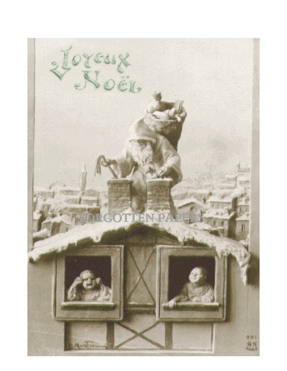 French PERE NOEL - Santa Claus - Vintage Real Photo Postcard - Terrified Child and Delighted Child