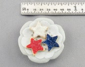 Dollhouse Miniature 4th of July Star Sugar Cookies on Small Plate