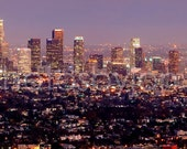 Los Angeles Skyline DUSK Griffith Observatory Panoramic Photo Poster Cityscape Print