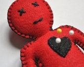 Breakup doll - voodoo Doll - Red and black doll - hand sewn felt human doll - love spells dark magic and stress release - OOAK