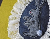bunny felt cameo style brooch - Sweet and modern Victorian Grey Bunny Brooch - felt and French vintage lace - all hand sewn - OOAK