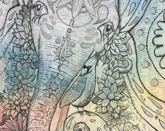 Cosmic Psychedelic Elephant Hand Embellished Art Print