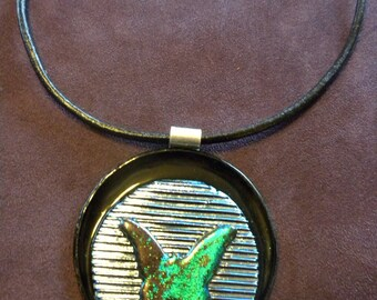 SALE! Dichroic Glass Butterfly Pendant