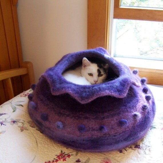 custom order felted wool cat cave bed