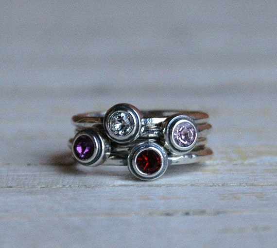sterling silver stackable birthstone ring by nelleandlizzy