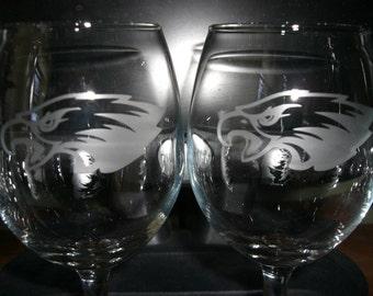 Set Of 2 Philadelphia Eagles NFL Wine Glasses