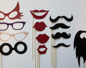 Photo Booth Props. Photobooth Props - Mustashe, Lips and Glass and Beard on a Stick Set