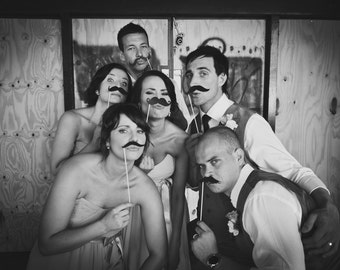 Photobooth Props - Photo Booth Props Piece Set - Party Photo Props- 8 Mustaches on a Stick