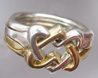 Celtic Hearts Puzzle Ring