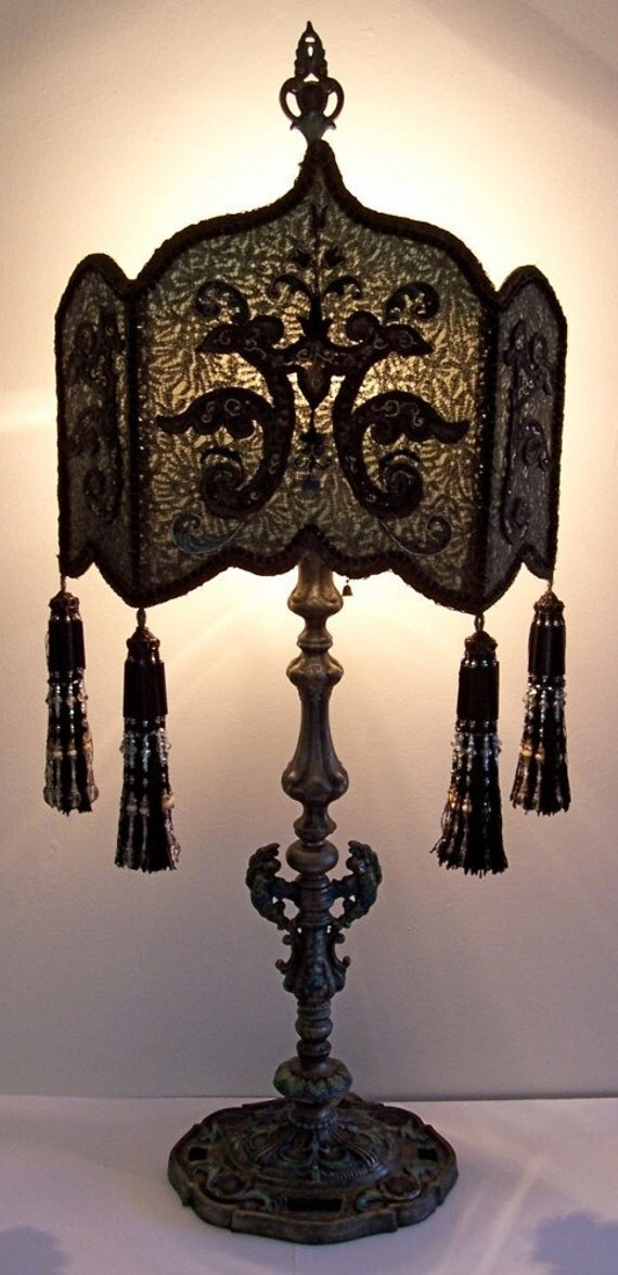 Victorian Gothic Peacock Shield Table Lamp Hand Made