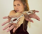 Miteneja - light brown cotton fingerless mitts with leather art appliques.