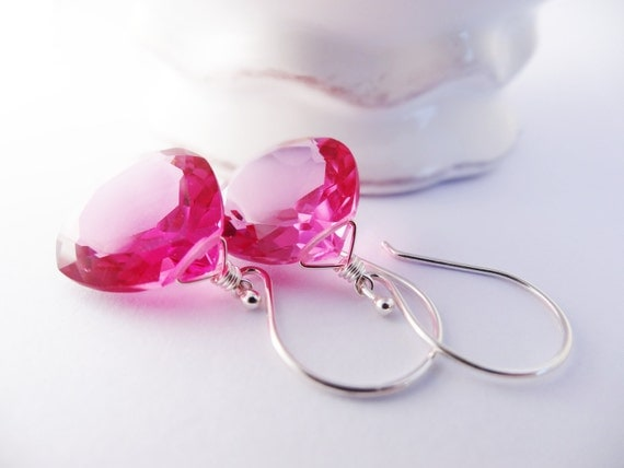 Rose Pink Quartz Drop Earrings faceted heart briolette jewelry handmade in sterling silver 25 and under gifts for her