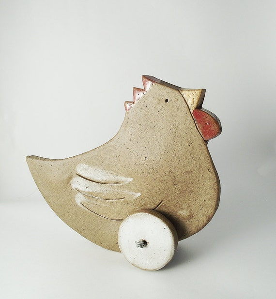 Ceramic Chicken on Wheels for Your Home - Home Decor