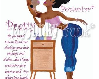 Pretty Posterior- African American Art Natural Hair Art Afro Puff Black Art Print