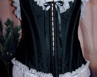 Lace up Corset,  Black corset,  Victoria's Secret corset,  V S black corset,  sexy black + white corset,  size S