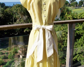 40s Dress, 1940s Day dress,  Yellow Day dress, 40s  Summer dress, Amber Day  dress, size M