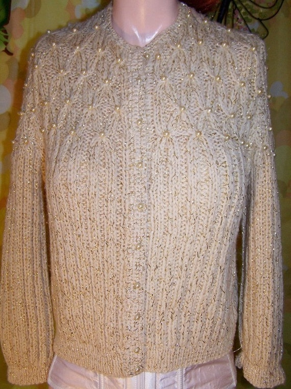 Beaded Sweater Pearls Cardigan size S / M BuY 2 GeT 1 FREE SALE