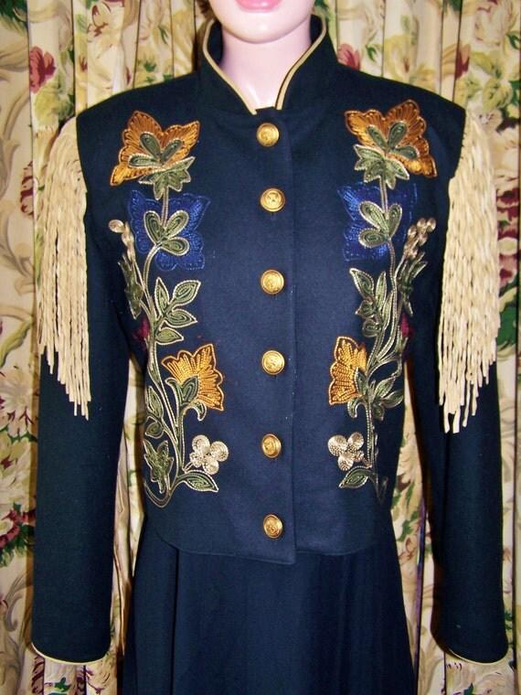 Hold 4 Anninka till tomorrow 3 /28 Fringe Jacket Embroidered Wool Coat size S / M
