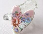 Reserved for Merrady: Porcelain Heart Brooch. Pink Peony Bouquet. Light Blue. Leaf Green. Lavender. Pansy. Bell Flowers. Cottage Garden