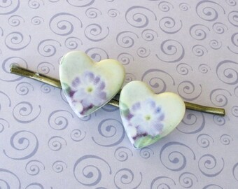 Heart Shaped Hair Pins. Lavender Primrose on White Porcelain. Violet. Mint. Cottage Garden. Shabby Chic. Set of 2 Bobby Pins. Antiqued Gold