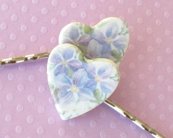 Heart Shaped Hair Pins. Lavender & Mauve Clematis on White Porcelain. Pastel Blue. Violet. Green. Shabby Chic. Set of Two Bobby Pins. Silver