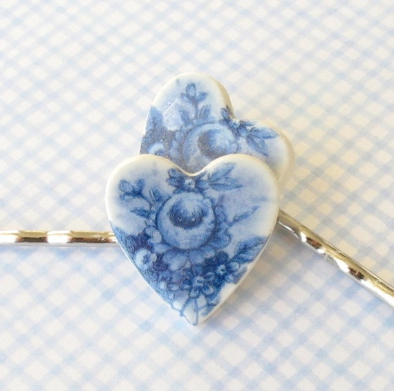 Heart Shaped Hair Pins. Delft Blue Cabbage Rose Bouquet on White Porcelain. Denim. Sapphire Blue. Shabby Chic. Set of  2 Bobby Pins. Silver