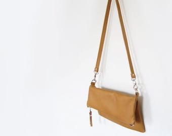 FOLDOVER CLUTCH - foldover crossbody bag - customizable clutch - leather clutch purse - leather zippered clutch - leather foldover clutch