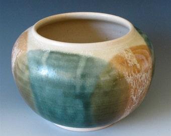 Medium Vase. Teal, Olive, Cream & Tan Speckle