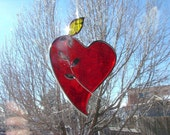 Stained Glass Heart with Yellow Rose