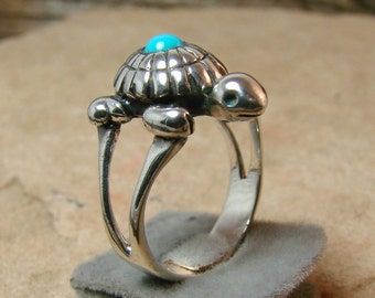 Turquoise Turtle Ring -225- Sterling Silver