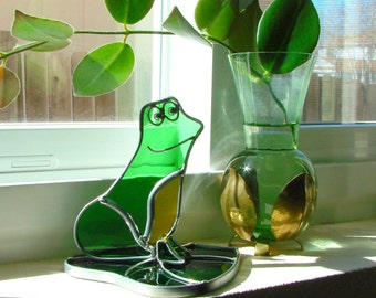 Stained Glass Happy Bullfrog on Lily Pad