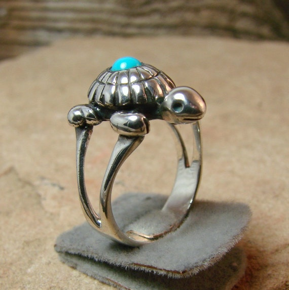 Turquoise Turtle Ring - Sterling Silver