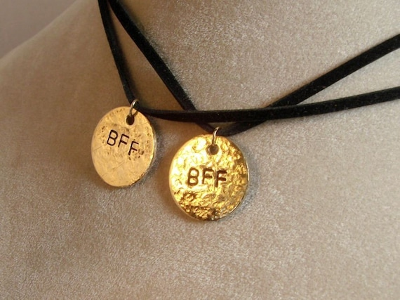 BFF Best Friends Forever - Two Brass Pendants, it comes with your choice of chains