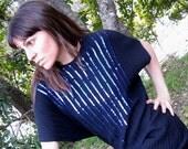 Vintage Plunge Back Dress w Blue Sequins, Free Fit