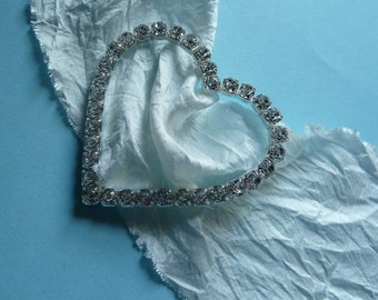 10 Rhinestone BuckleS Heart Shaped Small for Valentine, Bridal Design, Sewing, Costume Design