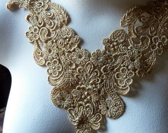 SALE Lace Applique in Gold for Lyrical Dance, Bridal, Jewelry Supply, Costume Design CA 102