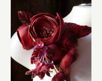 SALE Silk Flower in Red Satin and Velvet Magnificent Corsage for Bridal, Millinery MF104