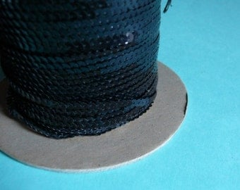 7 yds. BLACK Tiny Sequins by the yard for Costume or Jewelry Design, Headbands, Decorative Crafts