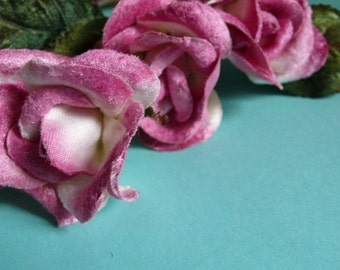 Small Deep Pink Velvet Millinery Rose for Corsages, Floral Supply, Crafting