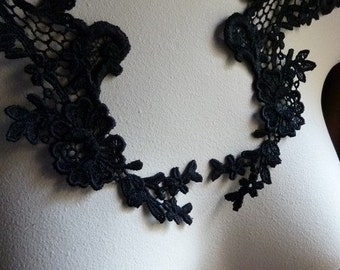 Black Lace Applique Pair for Lyrical Dance, Ballet, Garments, Costume Design, Neo Victorian, Steampunk   PR 115